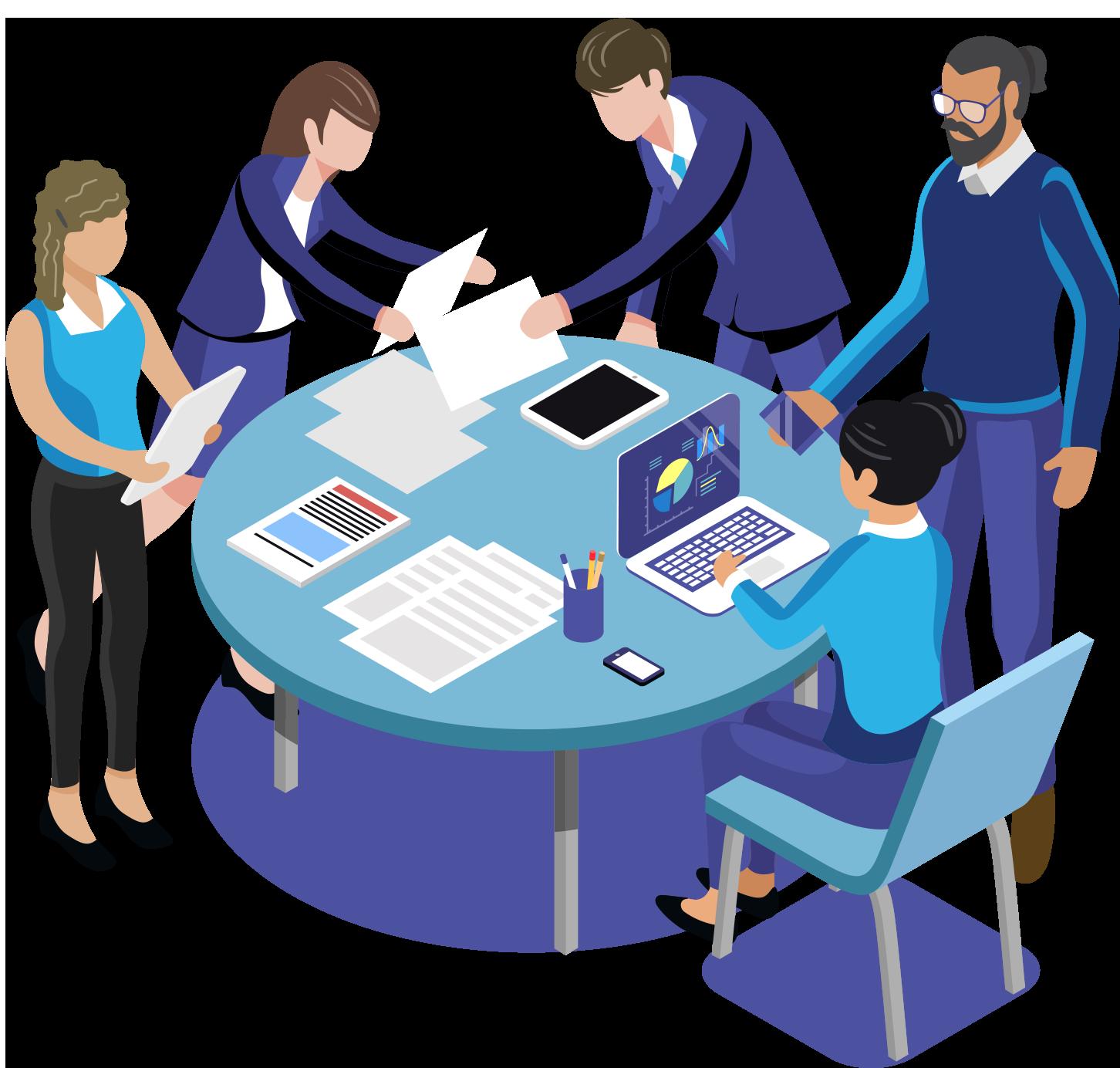 Vergadertafel met documenten en een laptop en 5 mensen die rond de tafel staan