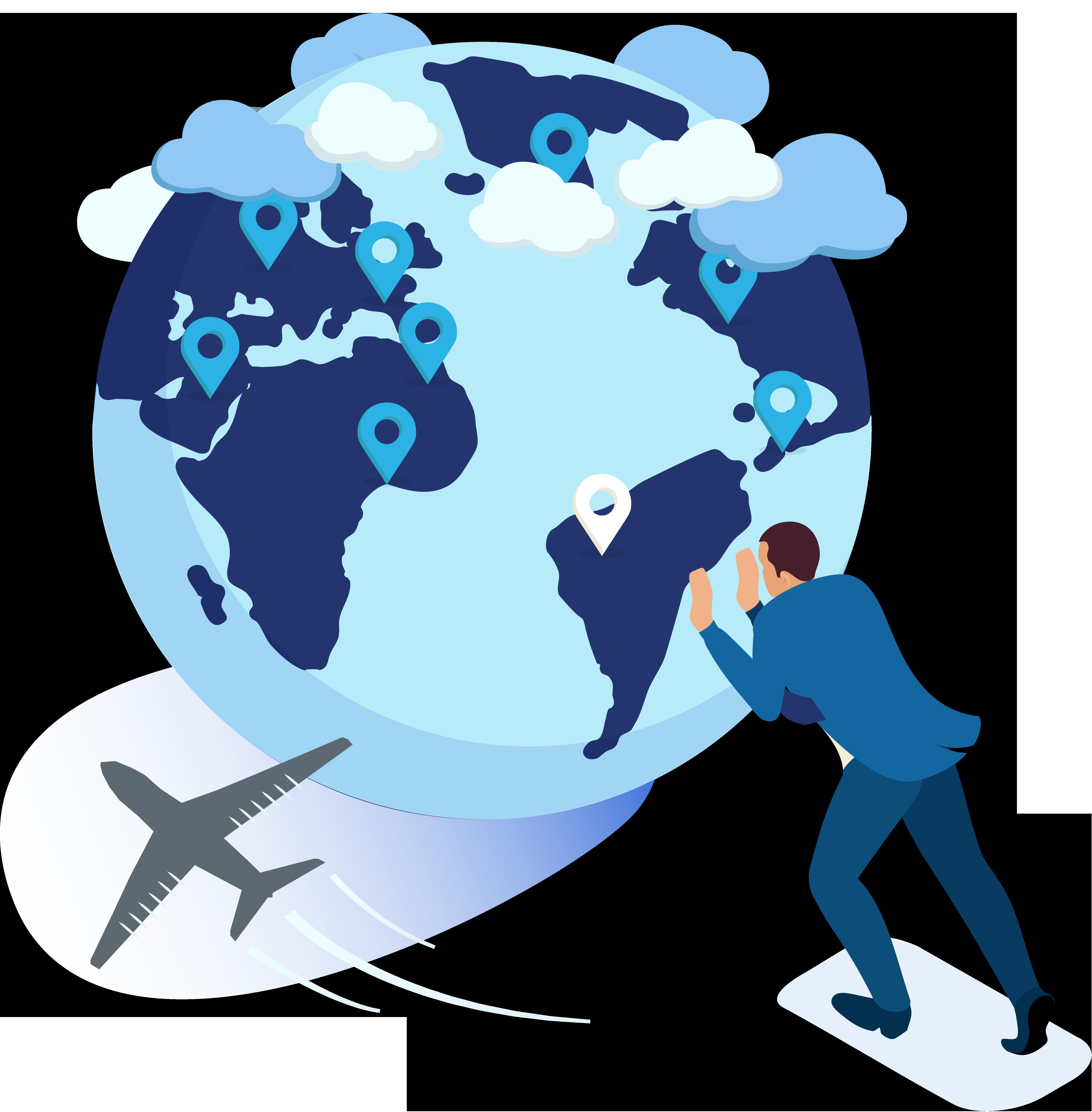 Man in blauw pak duwt blauwe wereldbol vooruit, er vliegt een vliegtuig om de wereldbol heen en er zijn wolken