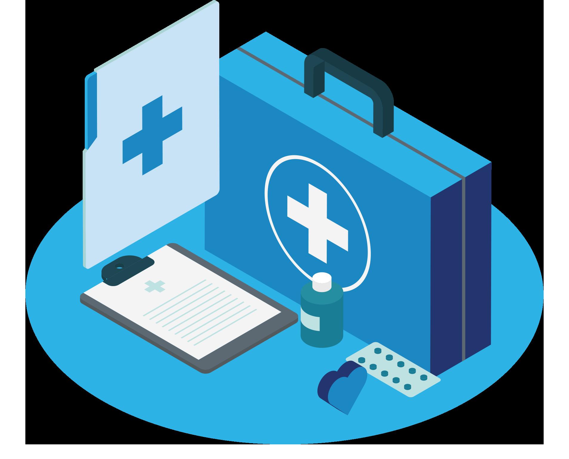 Blauwe EHBO koffer met een document en medicijnen