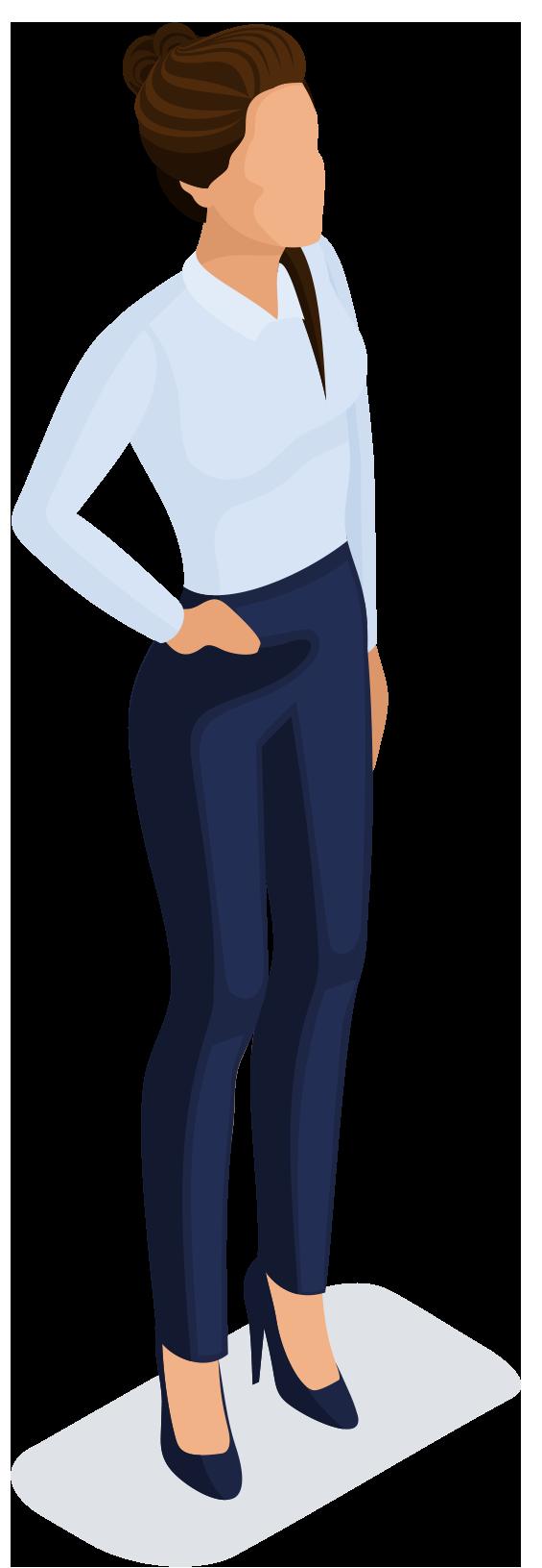 Vrouw met knot in haar en spijkerbroek en hakken aan
