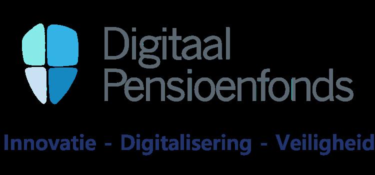 Logo van digitaal pensioenfonds met de tekst innovatie, digitalisering en veiligheid