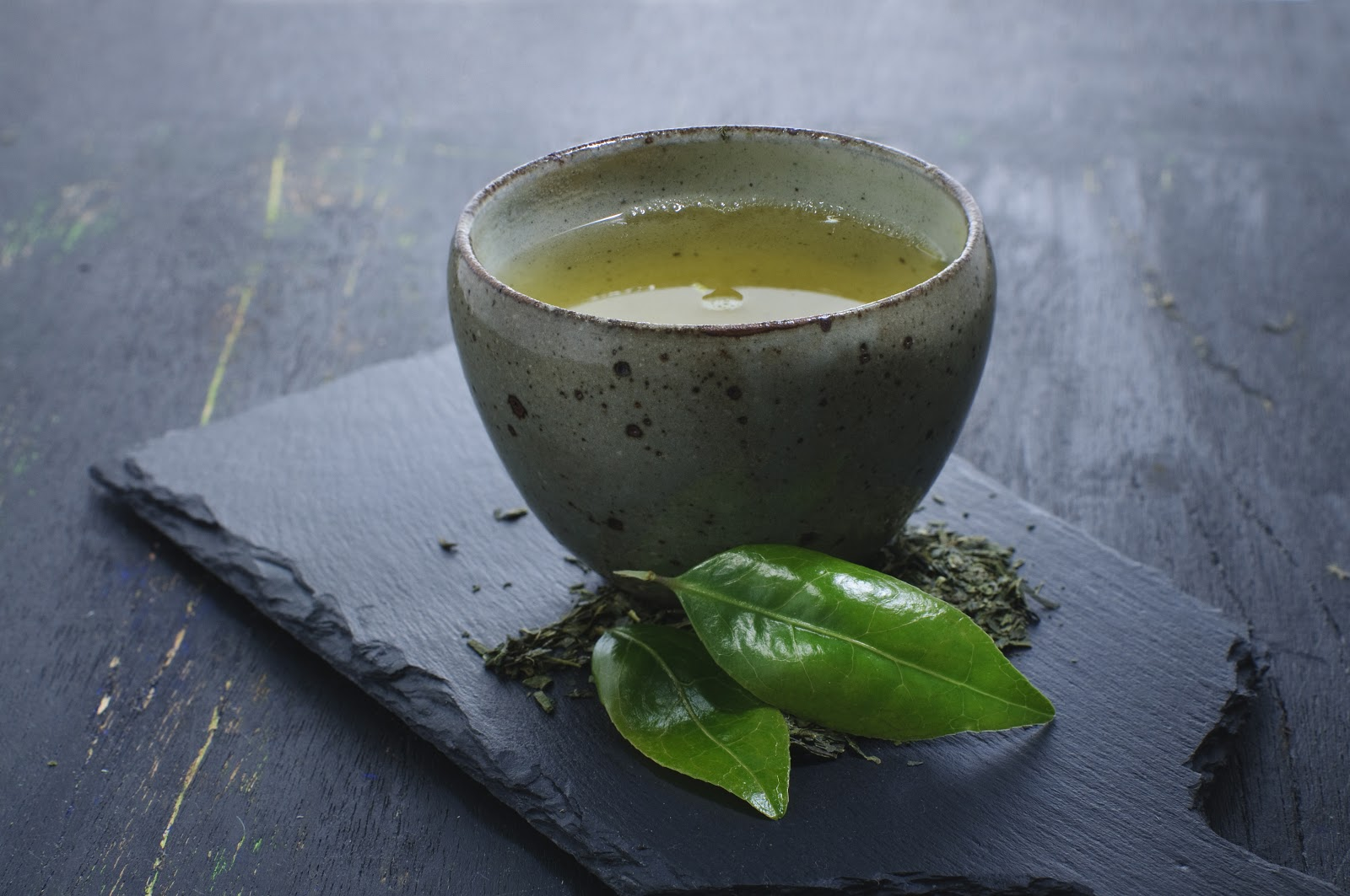 Shincha: tea leaf and cup of tea