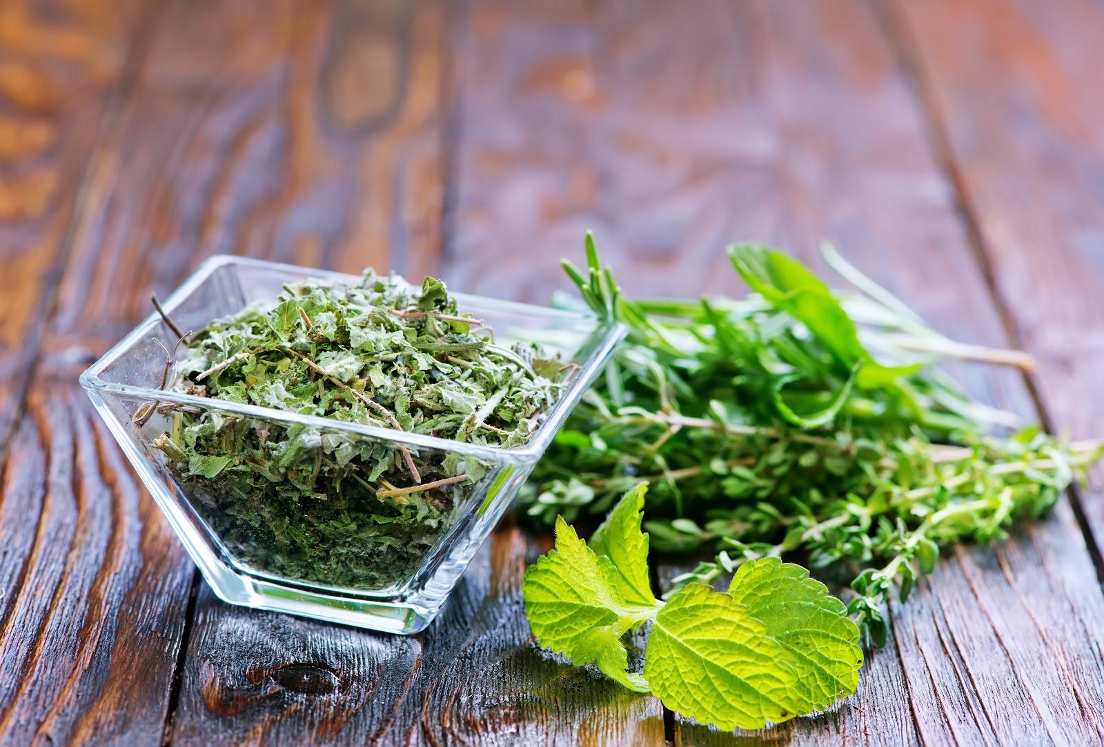 hyssop tea leaves in bowl