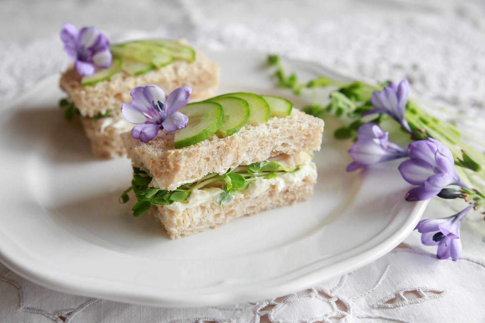 tea sandwiches: flower and cucumber