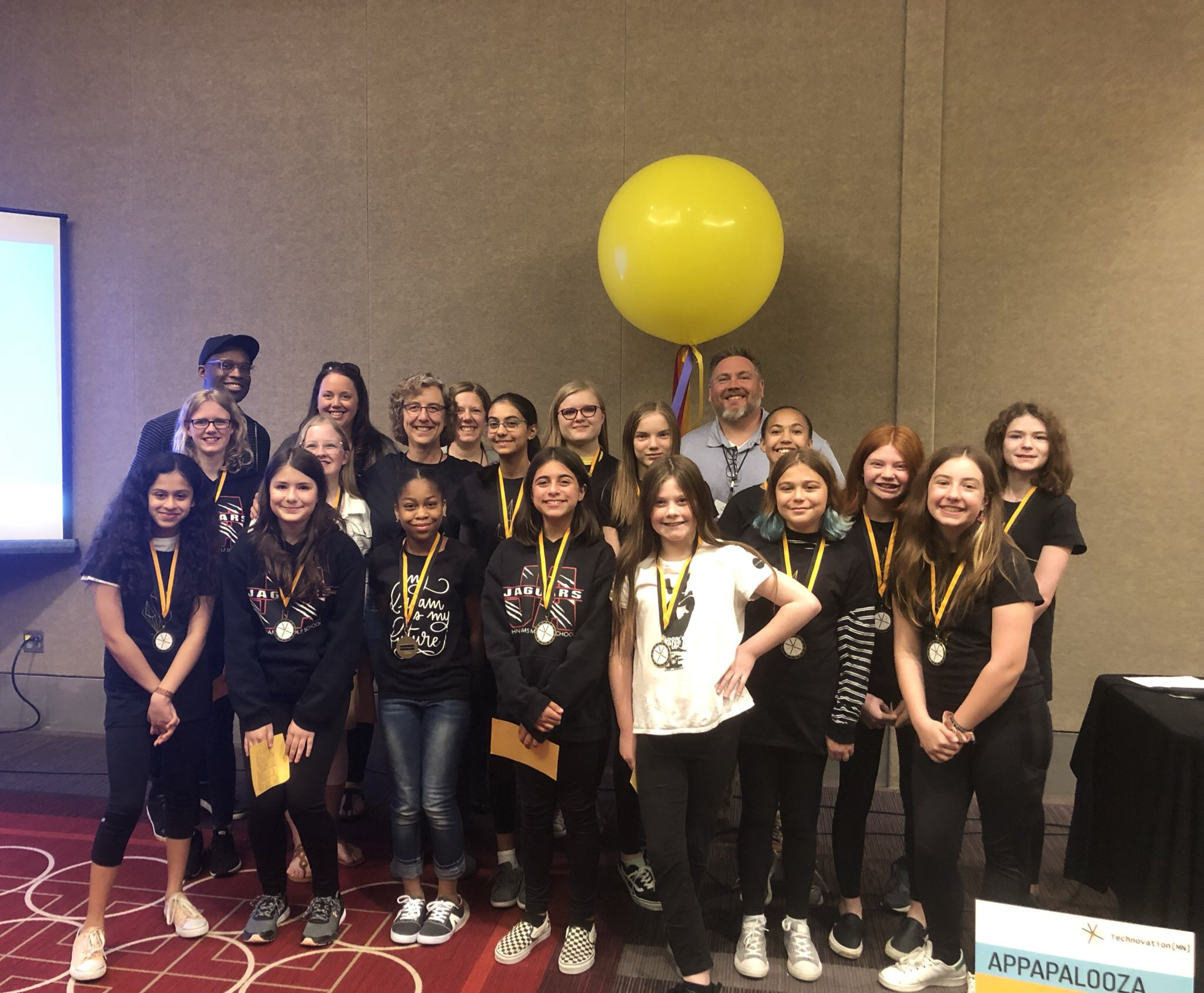 Technovation 2019 Junior Division Teams Waste No More, Canis Major, Single A Battery, Fire Breathing Rubber Duckies (John Adams), Earth Savers and judges