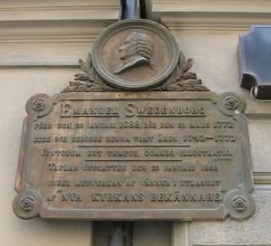 Memorial plaque at the former location of Emanuel Swedenborg's house at Hornsgatan on Södermalm, Stockholm.