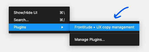 Open Frontitude for Figma plugin from right-click menu