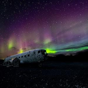 Iceland aurora borealis Solheimasandur plane wreck