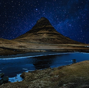 Kirkjufell, Iceland at night