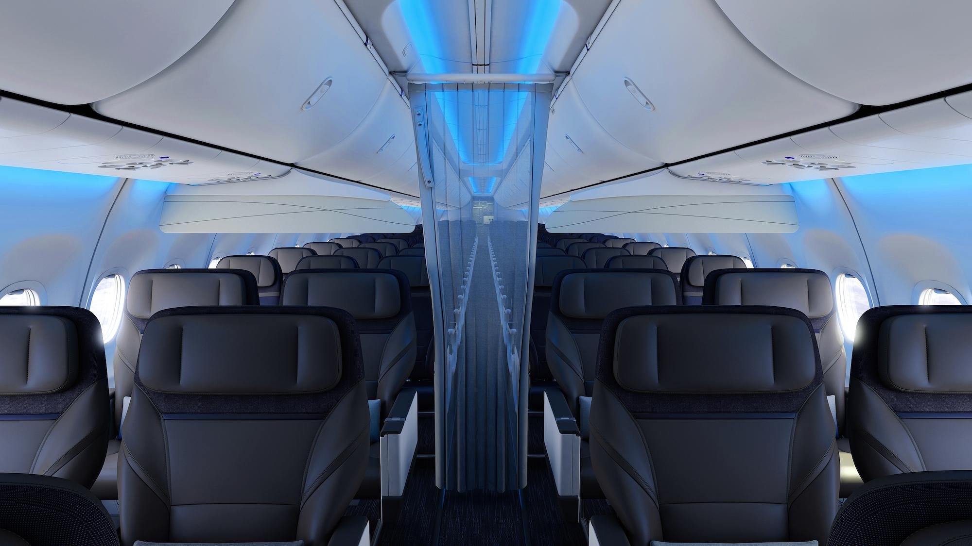 Mood lighting on fuel efficient Alaska Airlines planes.