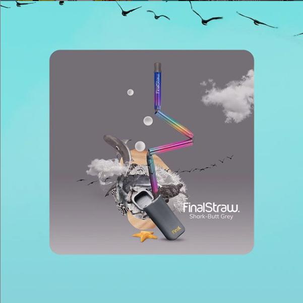 FinalStraw rainbow straw grey keychain
