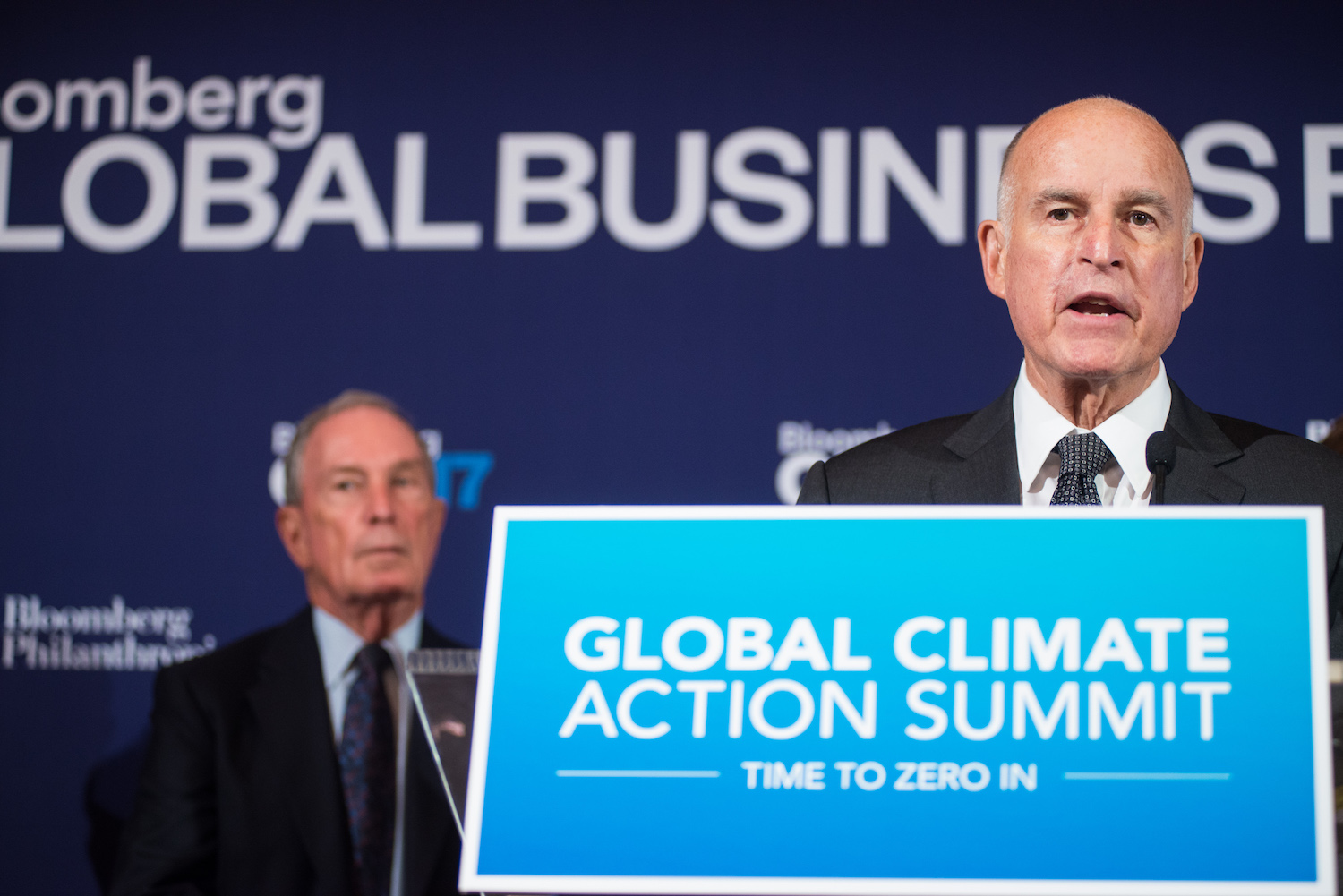 Mike Bloomberg and Jerry Brown, Governor of California, announce the co-chairs of the the 2018 Global Climate Action Summit at the Bloomberg Global Business Forum.
