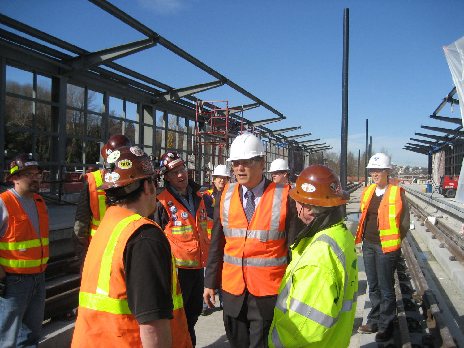 U.S. Rep. Jay Inslee (center) gets a firsthand look at progress made on Sound Transit's light rail expansion in February 2008.