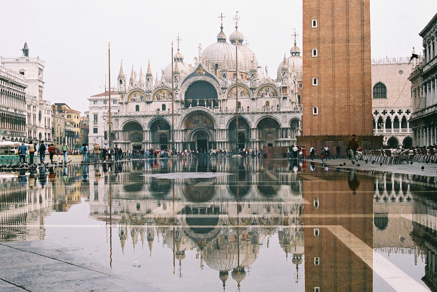Flooding in Basilica San Marco Plaza, Venice.