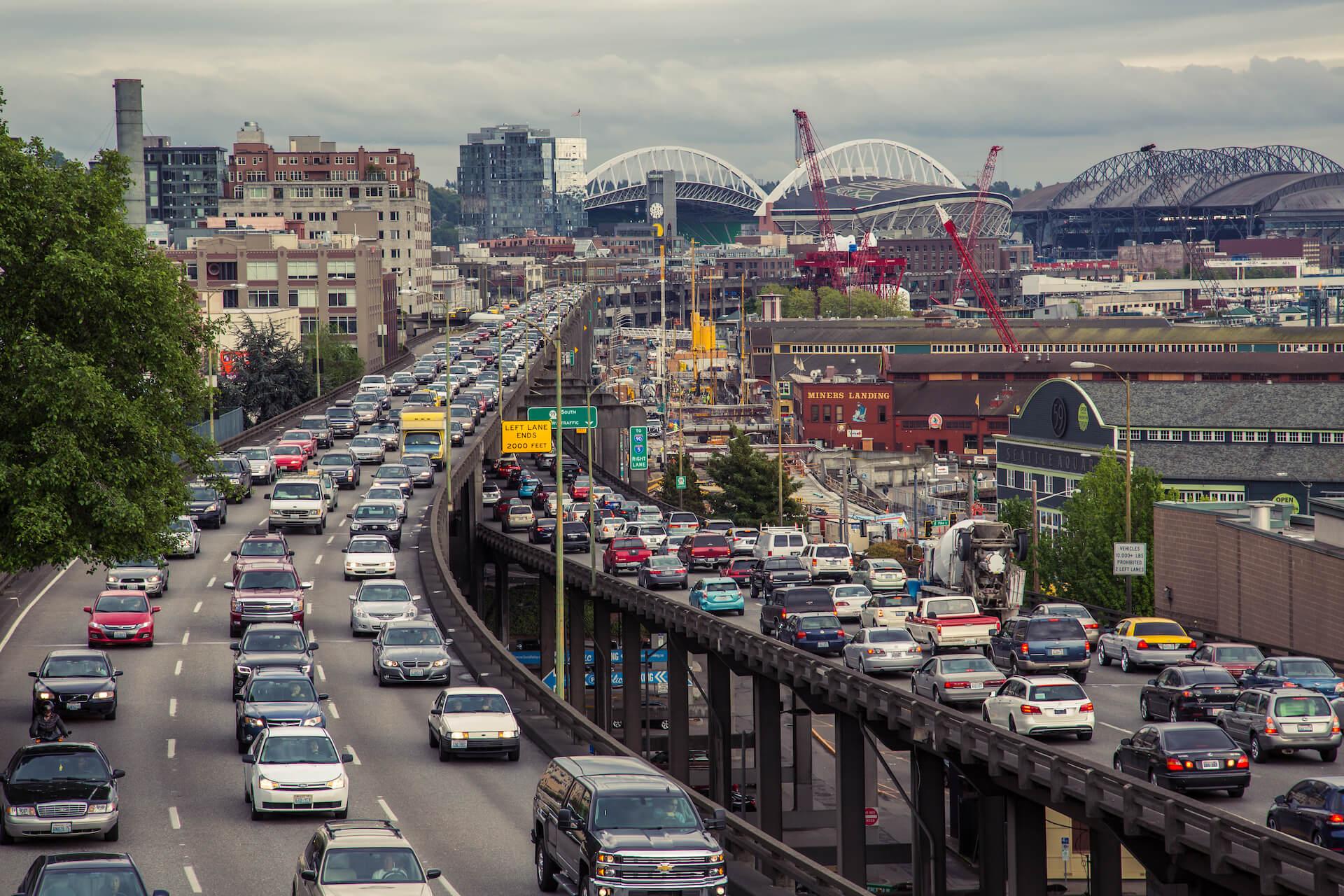 Alaskan Way Viaduct Traffic Seattle, Washington