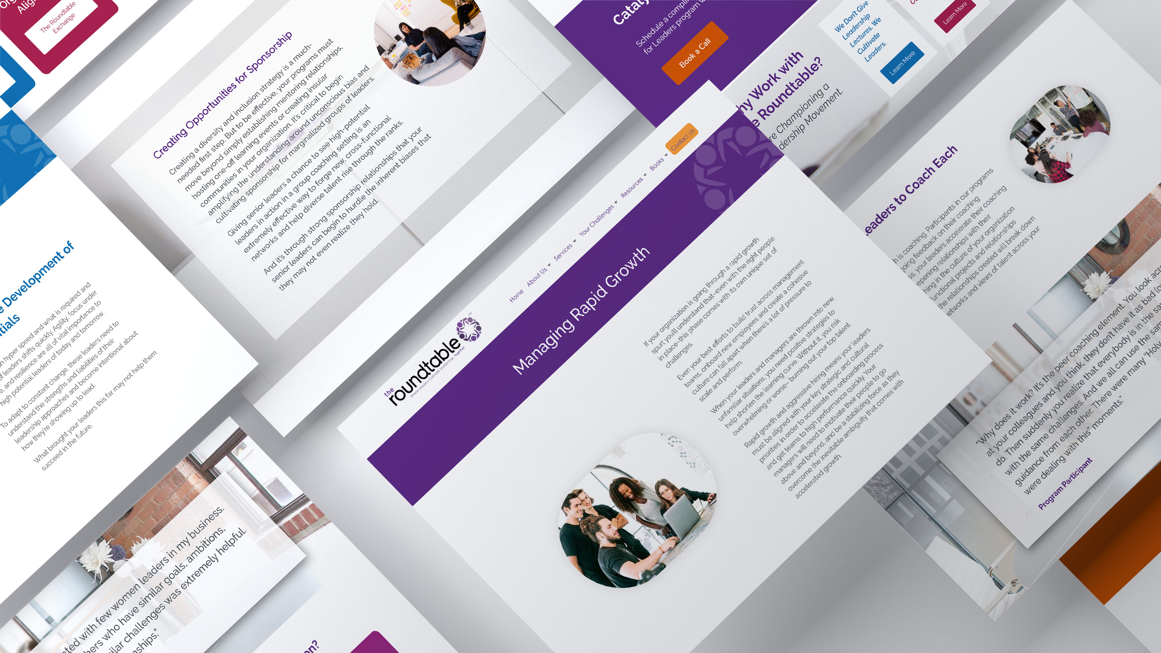 webpage mockups of roundtable website displayed at an angle