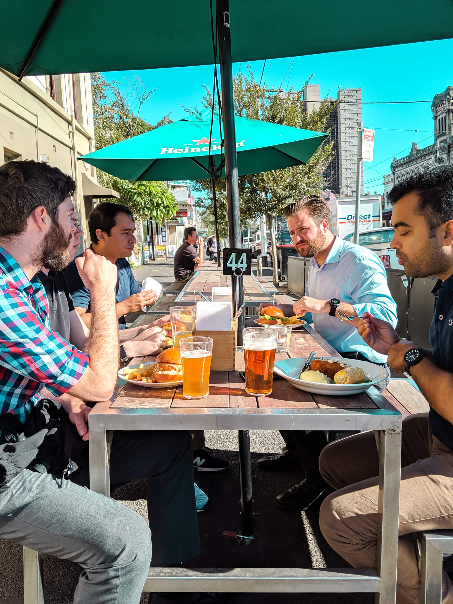 Casual office lunch, agile team lunch, work life balance, team outing, pub lunch, sharing, melbourne streets