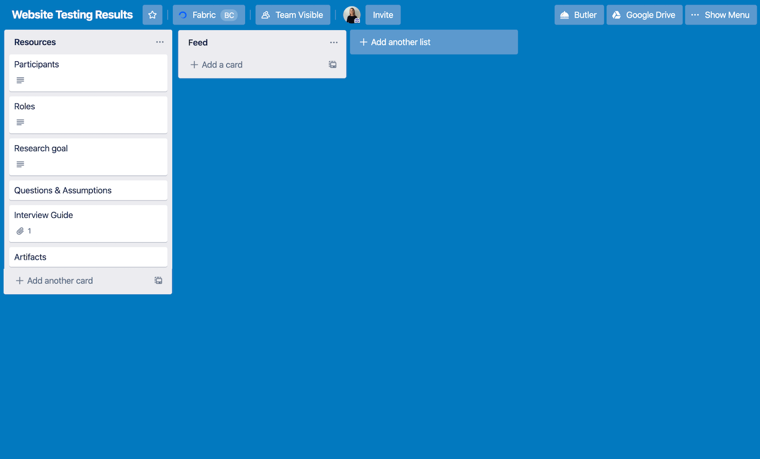 Trello board with Resources and Feed lanes