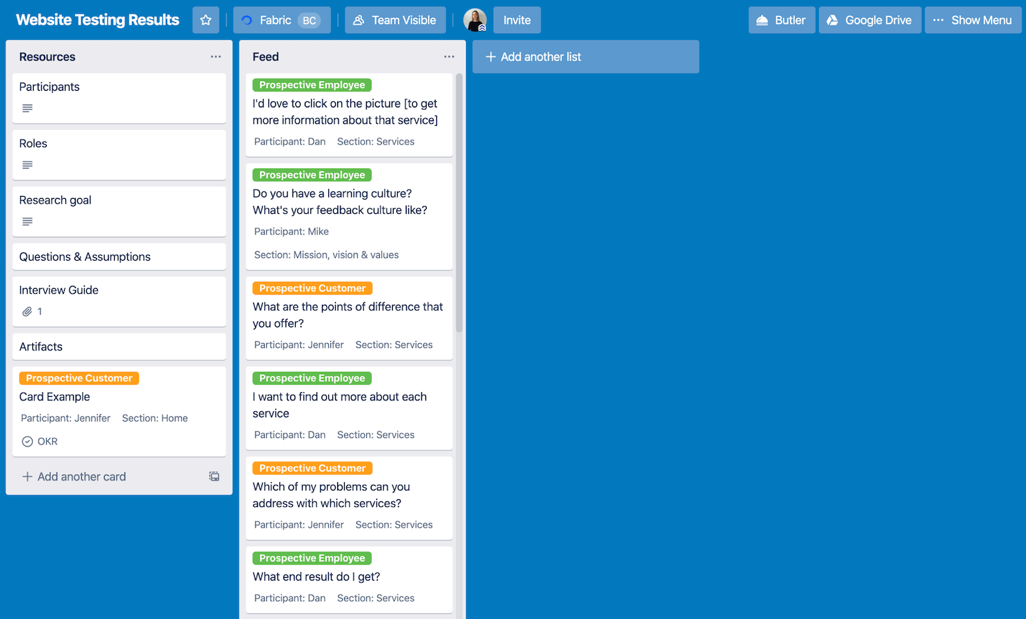 Trello board populated with some insights