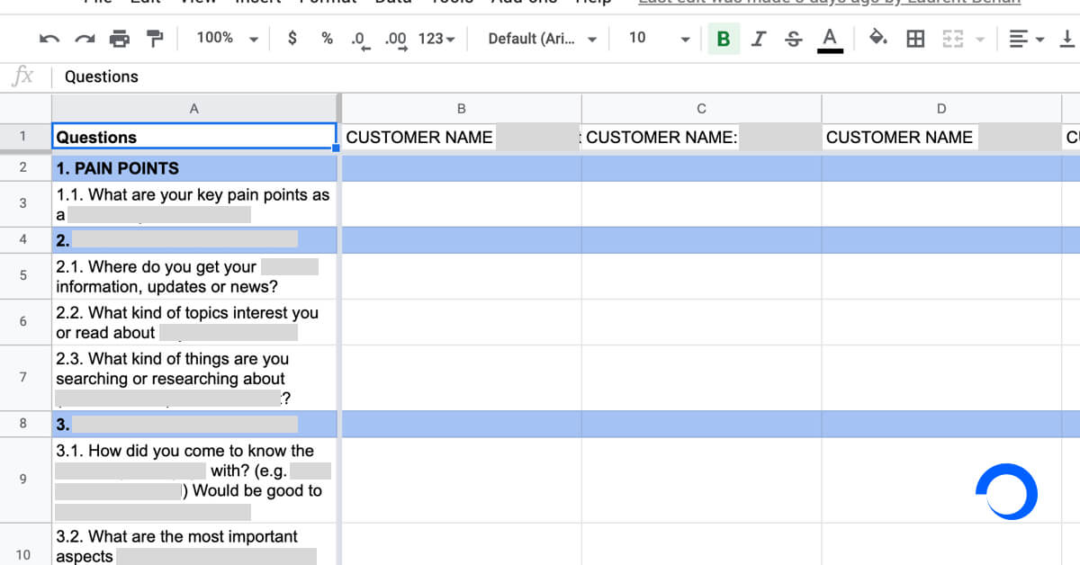 Shared spreadsheet to capture results