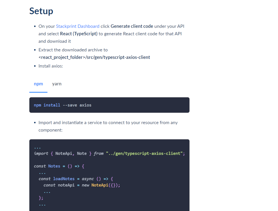 Generate client code for REST API