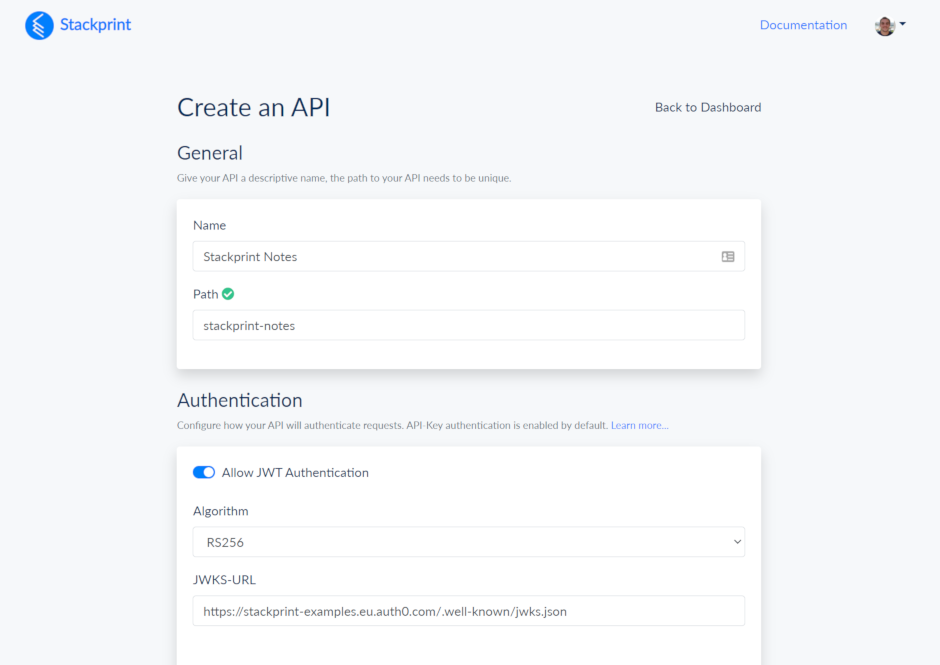 Building an API with Stackprint