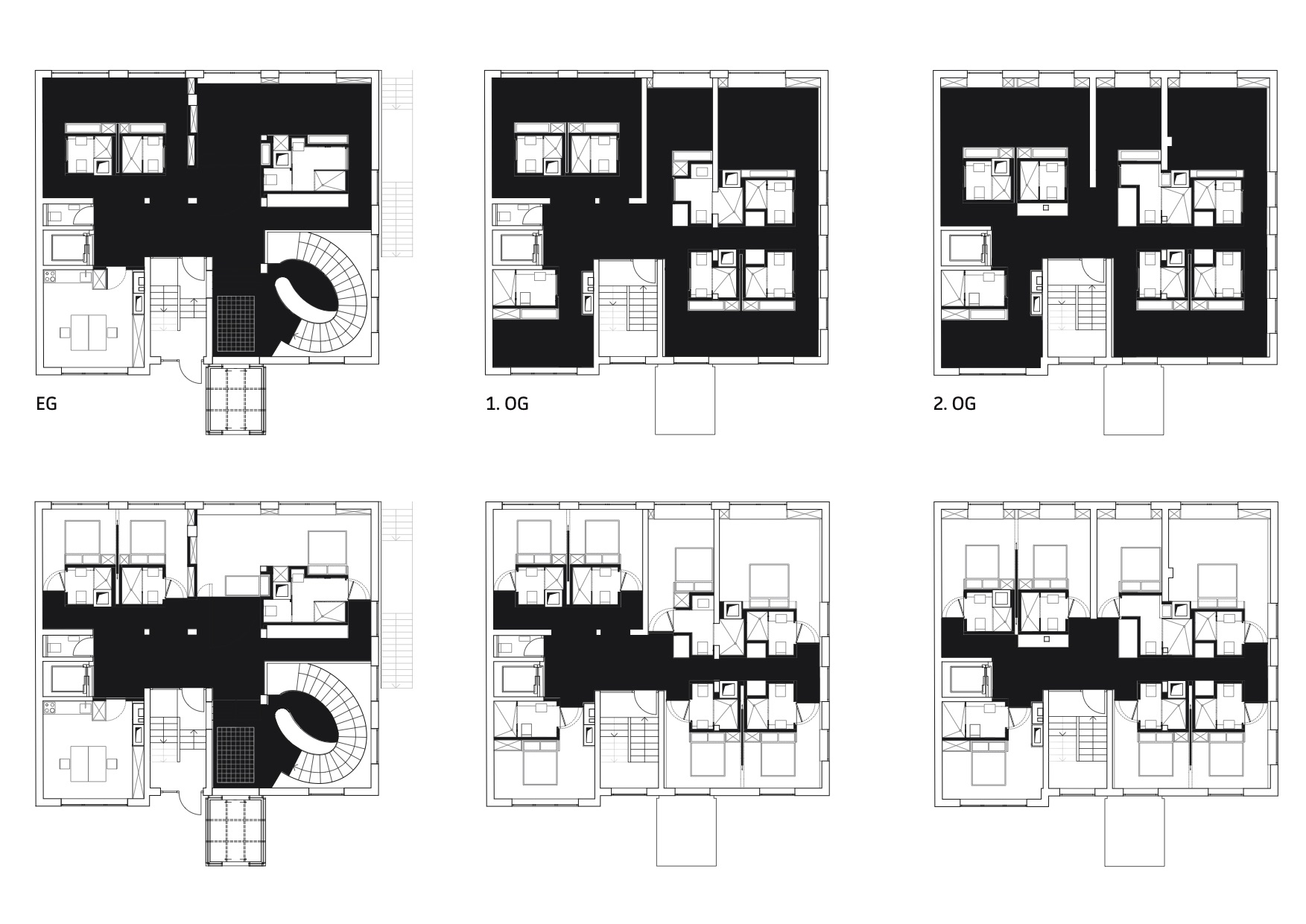 schematic drawing - public and private spaces. 2x2