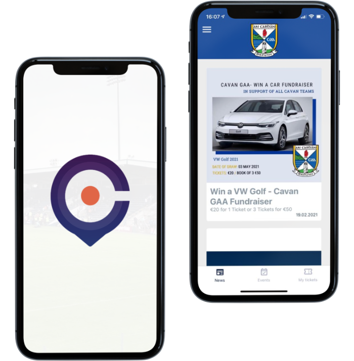 A picture of the Clubspot app being displayed on a mobile phone