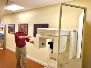 Dr. Riesberg is very proud of his in-office CT scanner.