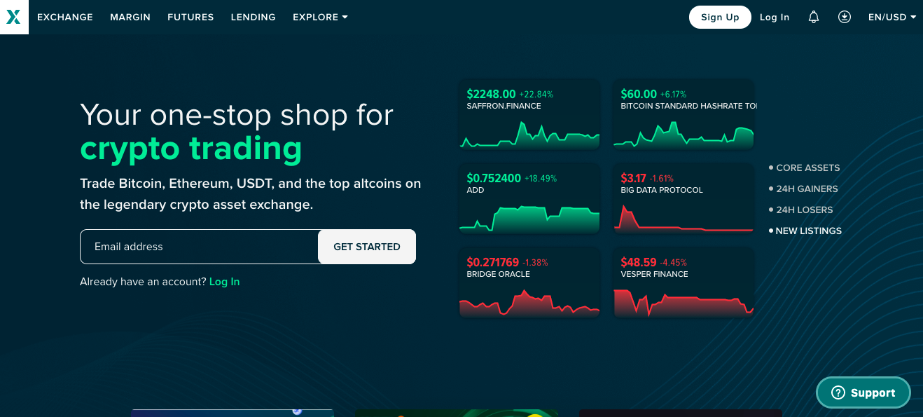 Sign Up Blink Poloniex Exchange Landing Page