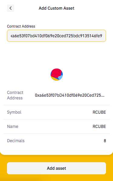 How to buy RCUBE add custom token