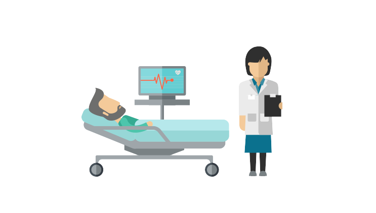 Graphic of a person in a hospital bed attached to a monitor and a doctor beside them