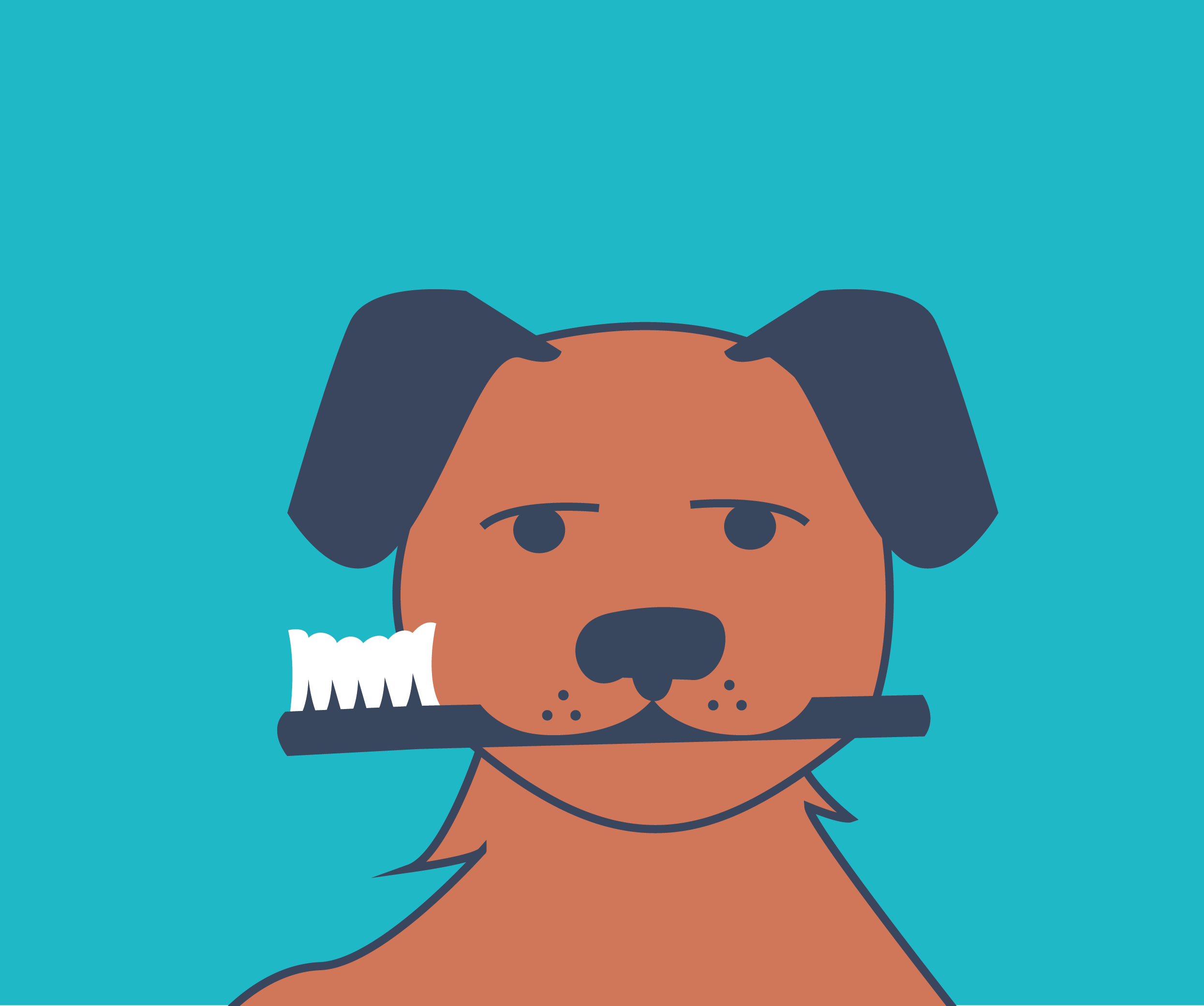 Graphic of dog holding a toothbrush in its mouth