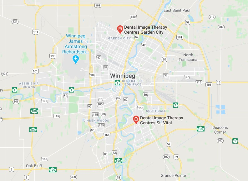Map of Winnipeg and the surrounding area, with both Dental Image Therapy Centres clinics locations pinned on it