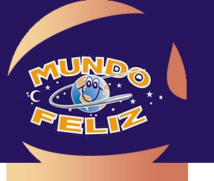 Marca da Escola Mundo Feliz: representada por um planeta Terra sorridente em um céu estrelado com os dizeres Mundo Feliz ao redor.