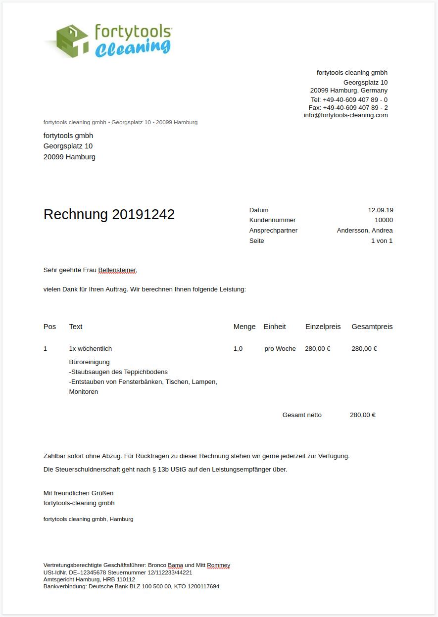 Vorlage für Subunternehmer-Rechnung und Musterrechnung für Subunternehmer