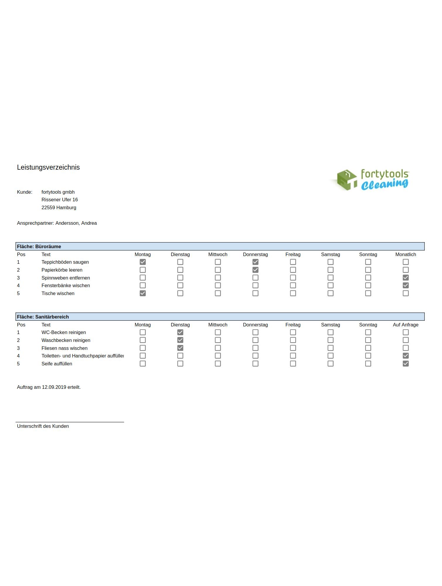 Vorlage für Leistungsverzeichnis und Muster-Leistungsverzeichnis