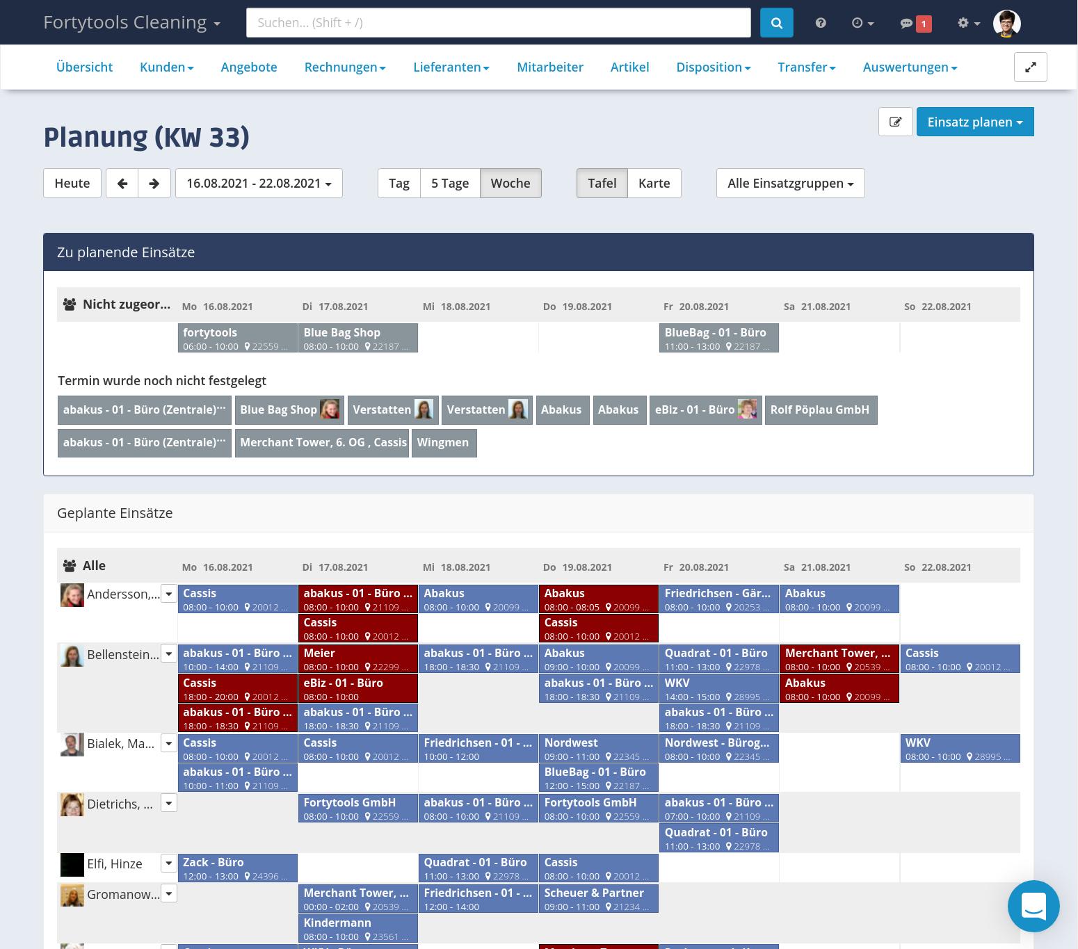Die Einsatzplanung ist das Herzstück um Ihre Mitarbeitenden auf Kundenaufträge und -termine zu planen. Übersichtlich, schnell und einfach.