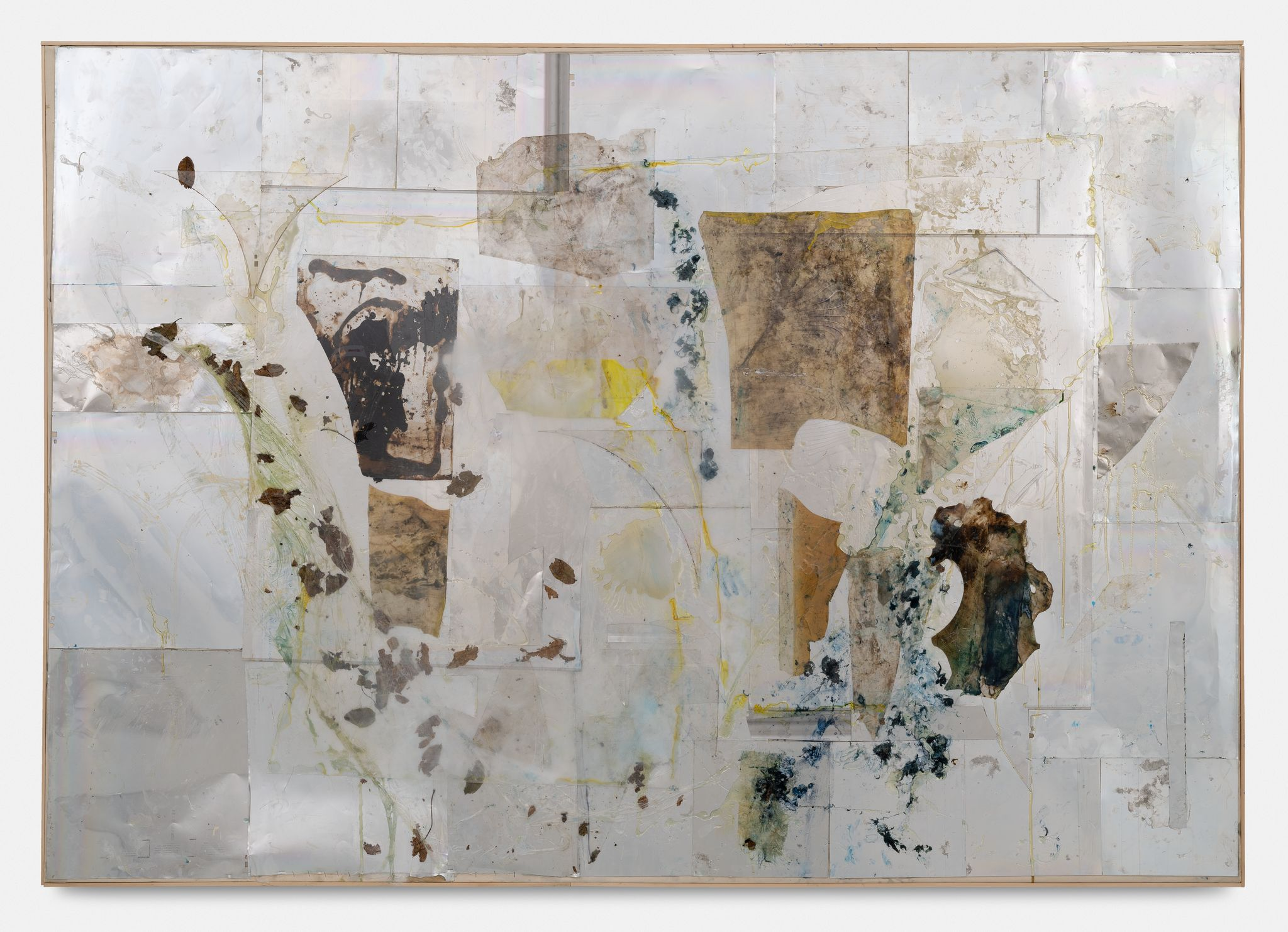 Reconstructions, 2005 Aluminium foil, plastic, acrylic glass, silicone, glue, resin, feathers, leaves, plastic foil, giments on molino canvas, in artist frame 188,4 x 266,6 cm 74 1/8 x 105 Inches. © Courtesy of the Artist and Almine Rech - Photo: Hugard & Vanoverschelde