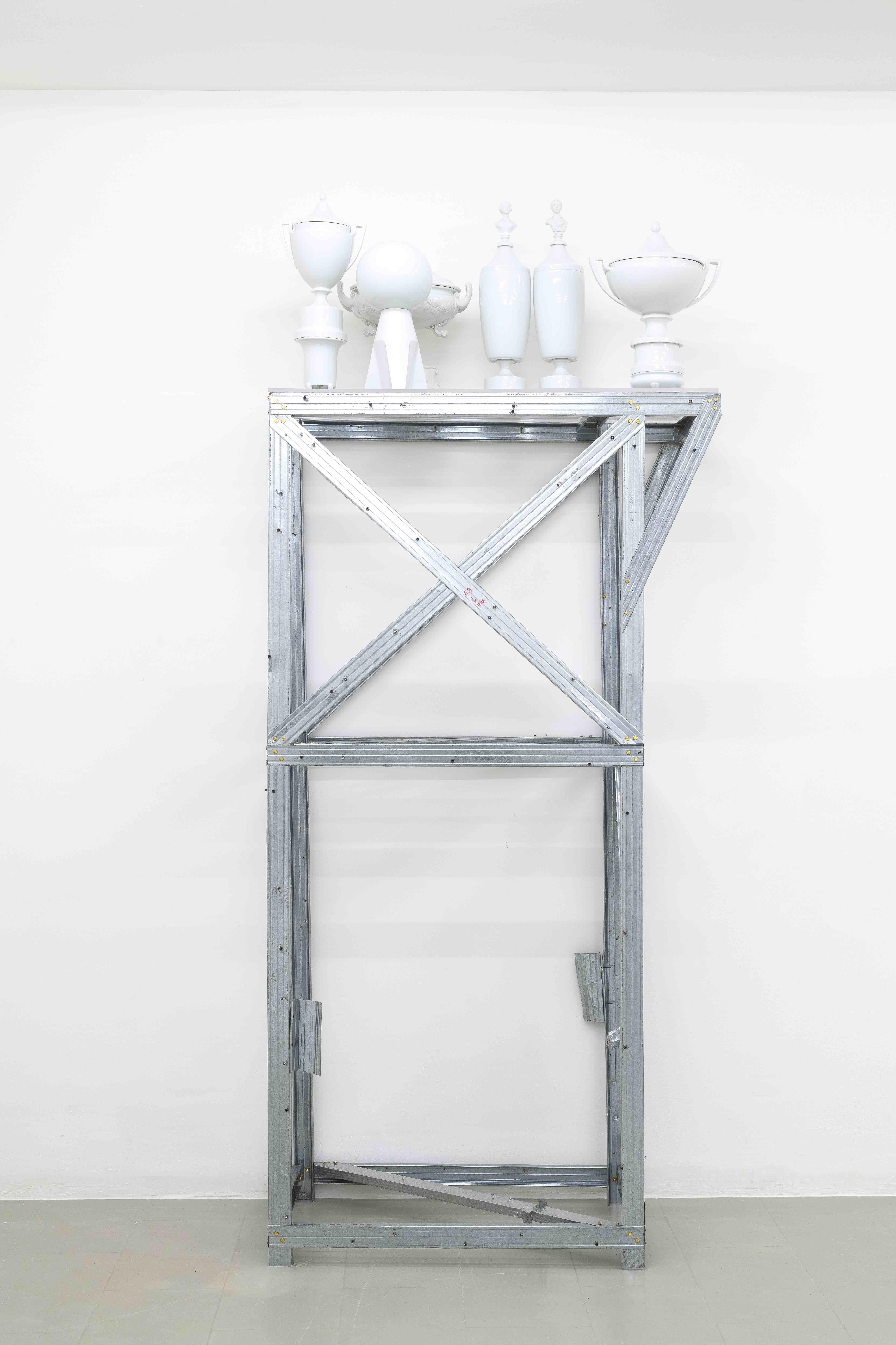 Plamen Dejanoff, Untitled, 2019, Aluminium Sculpture, Plexi, 6 Porcelain Sculptures, 229 x 126cm