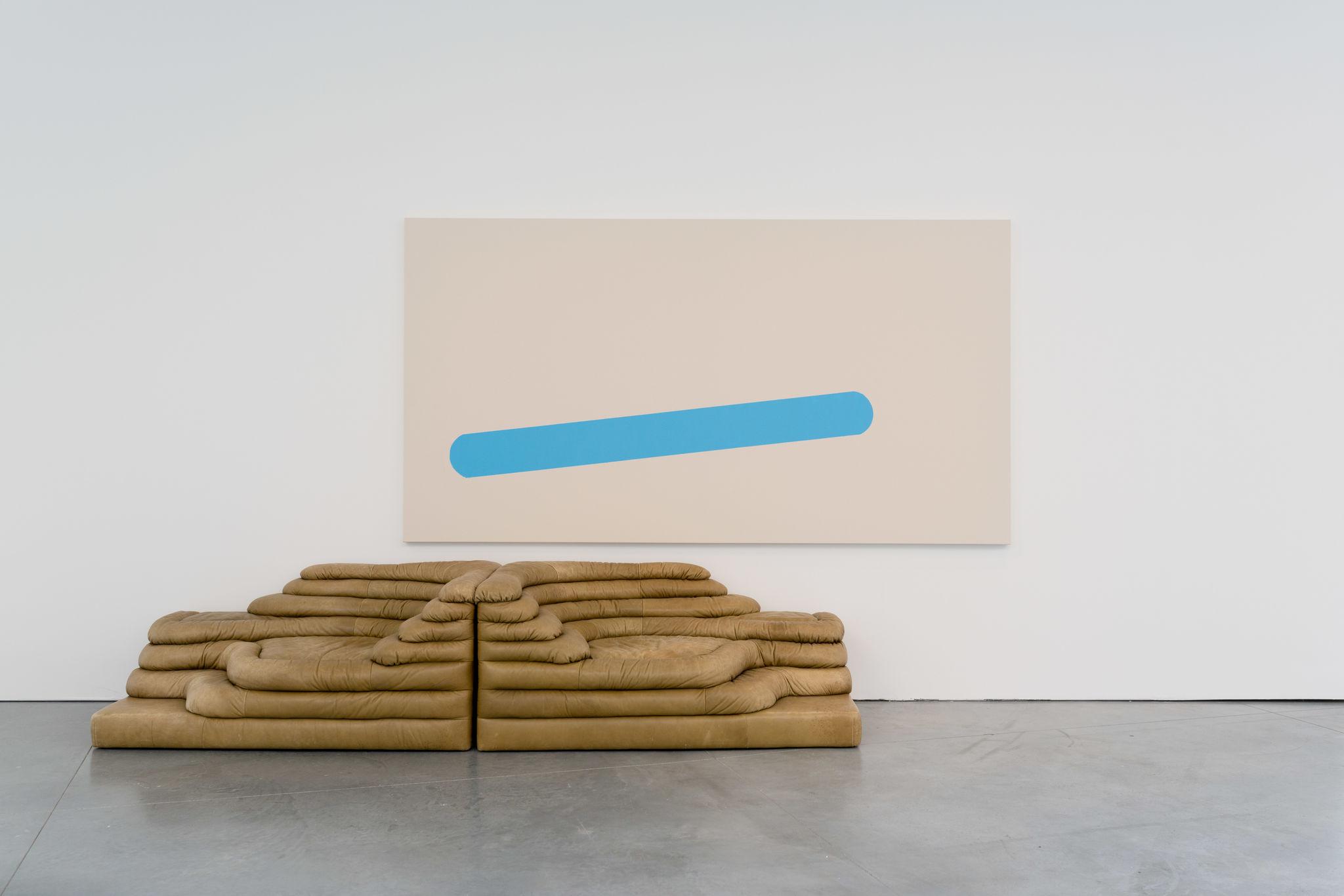 John M Armleder, Smoothie II (furniture sculpture), 2019 Acrylic on canvas, two sofas by Ubald Klug & Ueli Berger, 1972 Canvas: 150 x 280 cm - 59 x 110 1/4 in Sofa: 180 x 140 x 100 cm - 70 7/8 x 55 1/8 x 39 3/8 in (each)