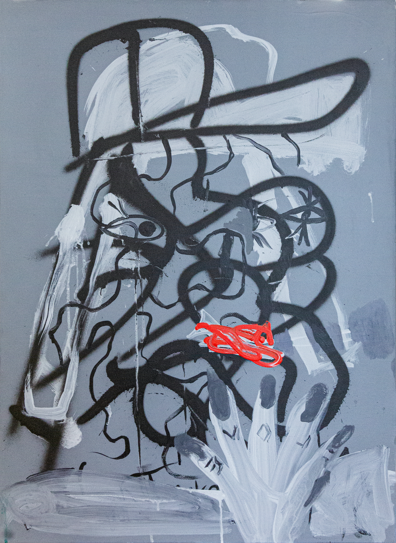 Boban Andjelkovic RED (I paint for Dora), 2020, acrylic and spray-paint on canvas, 85x 62 cm , BA/M 21