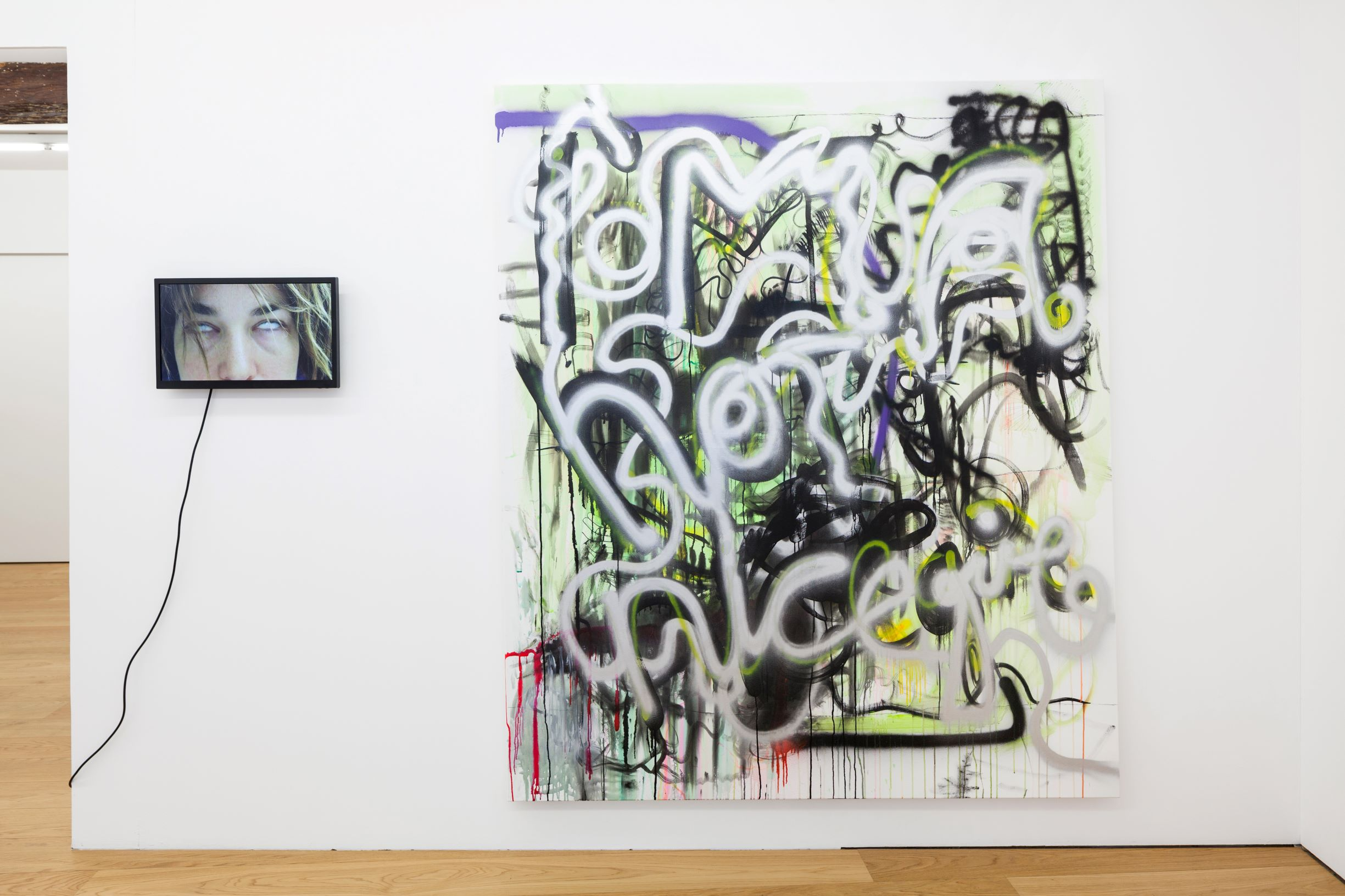 SCRIPTS, Linda Semadeni, Kirchgasse ©Björn Allemann KG.jpg Installation view, Not titled yet, 2020, Video loop (duration: 01:02 min) / Follow your nose, 2020, Gouache, ink, acrylic on canvas, 200 x 170 cm.