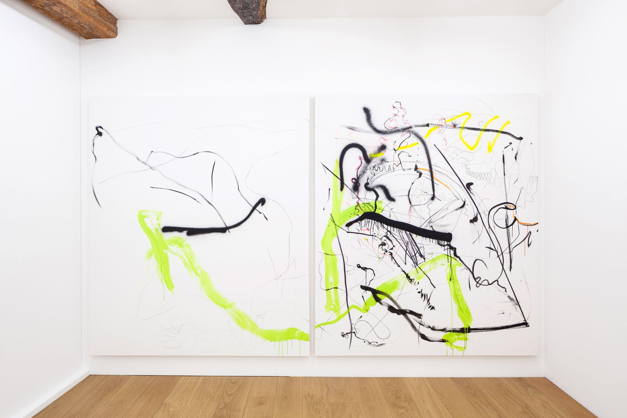 SCRIPTS, Linda Semadeni, Kirchgasse ©Björn Allemann, Not titled yet, 2020, Diptych, Gouache, ink, marker on canvas, 2 x (200 x 170cm).