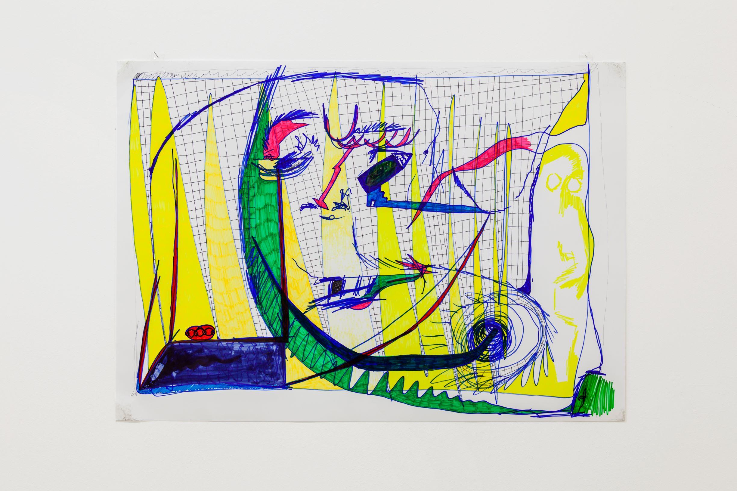 SCRIPTS, Linda Semadeni, Kirchgasse ©Björn Allemann, Erinnerung ans Hirn, 2019, Marker on photo paper, 42 x 59.5 cm.