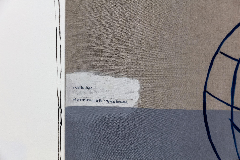 Detail: Malte Zenses Sie hat es sich jetzt anders überlegt, 2020 Lack, Öl, Klebstoff und Papier auf Leinwand 100 x 130 cm MZ/M 19