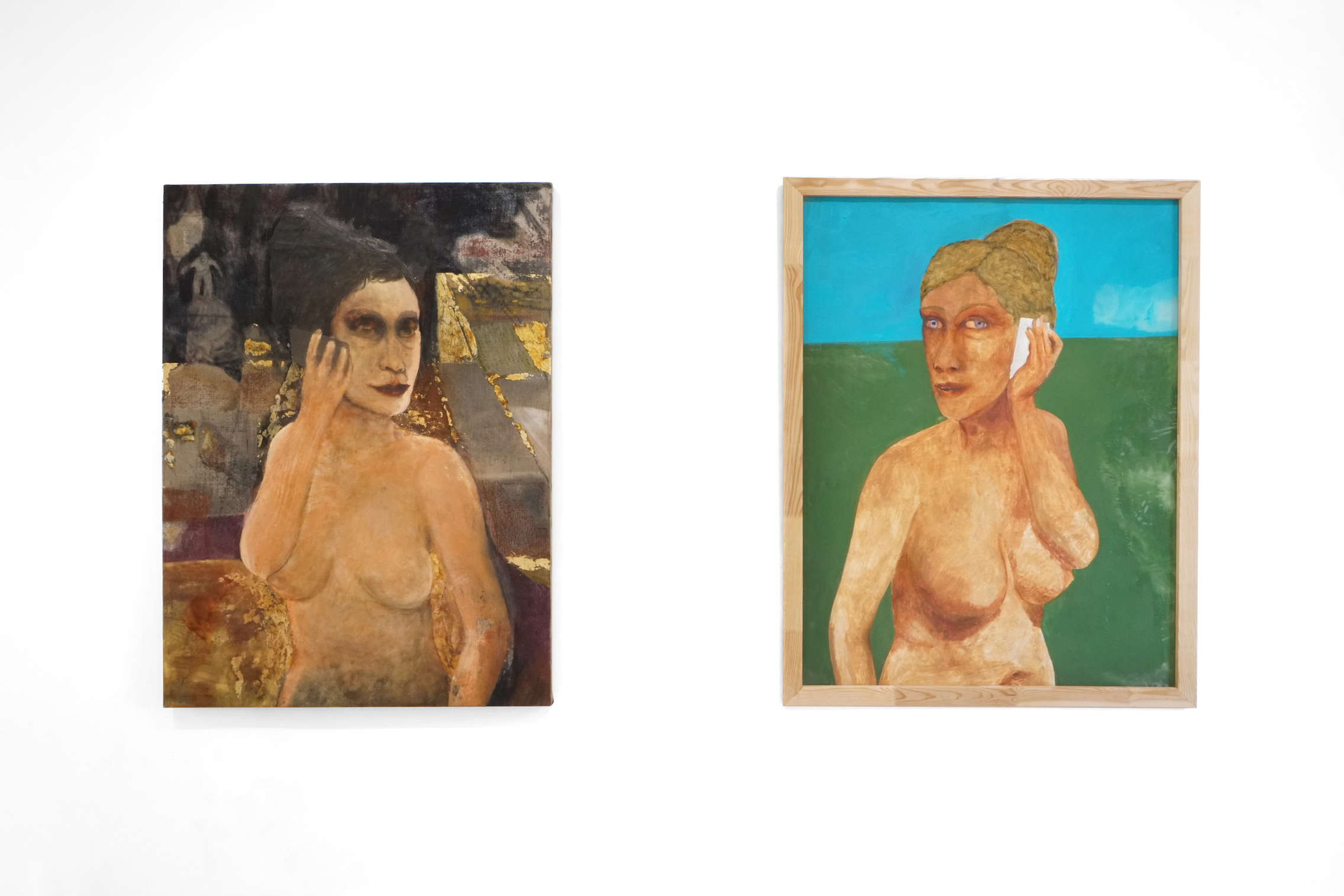 Stanislava Kovalcikova, Cautionary Tales, Left: The call (night) 2020 Oil on linen 123 x 91 cm, Right: The call (day) 2020 Oil on fabric 120 x 95 cm, courtesy of MAMOTH