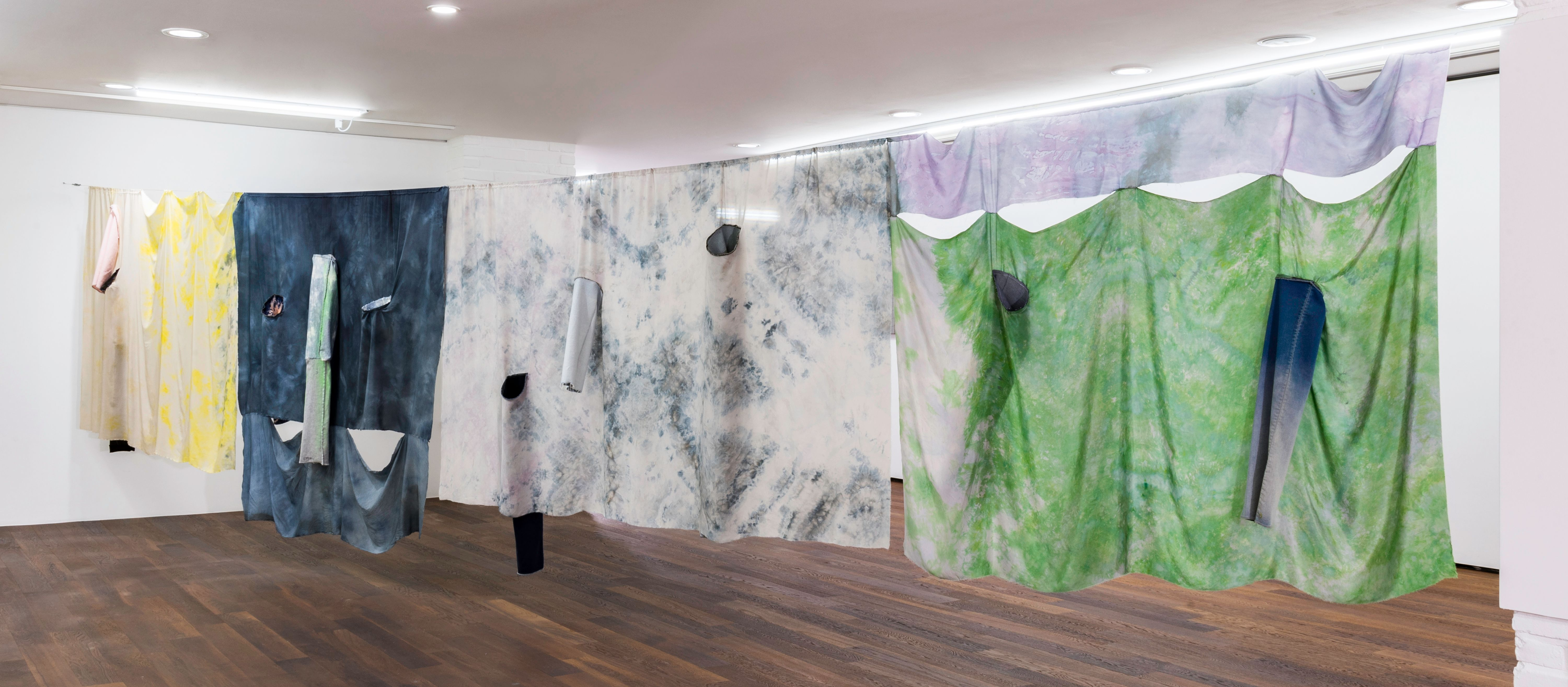 Fay Shin, 'Front and back side of the planet—motility, ion, wave', 2019, Denim, silk, dye, Powerade, spray, silk thread 110x720cm, Courtesy of GALLERY SU: and the artist