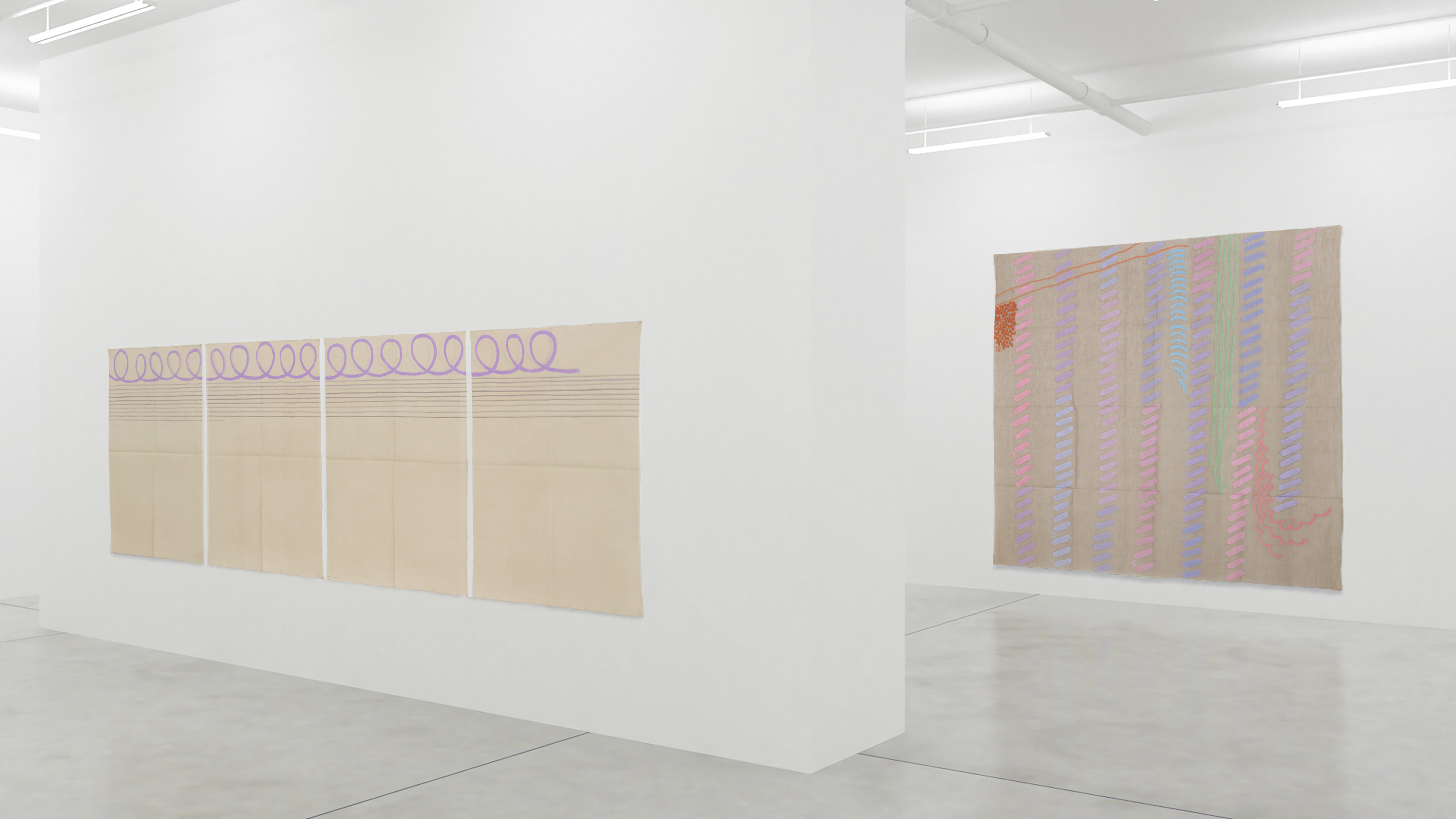 Giorgio Griffa, The 1990's, Installation view 2, courtesy of the artist and Casey Kaplan, New York.