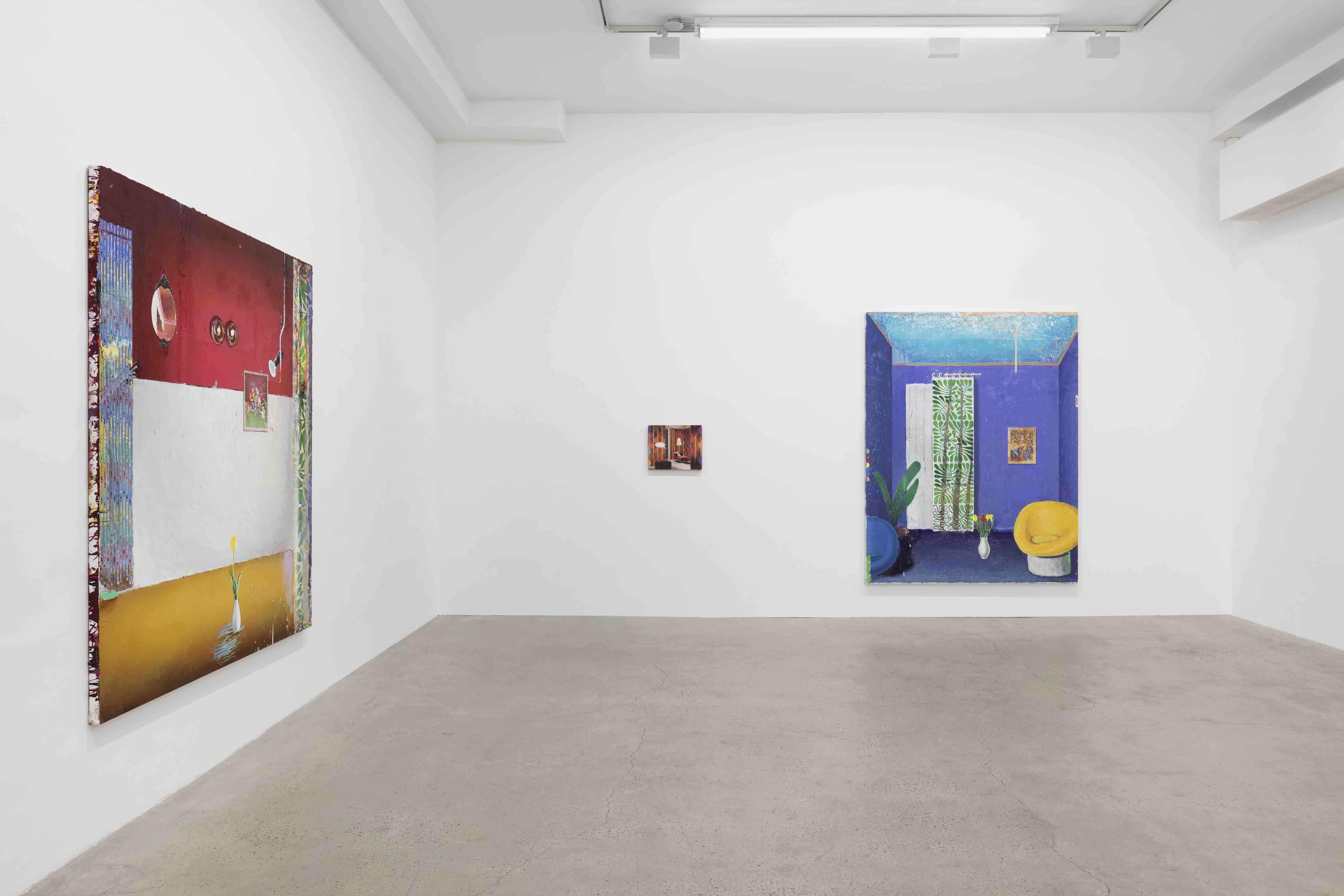 'Matthias Weischer, Stage, Installation View, GRIMM, New York, 2020. Photos by Pierre Le Hors'